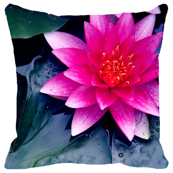 Leaf Designs Fuchsia Pink Lotus Cushion Cover