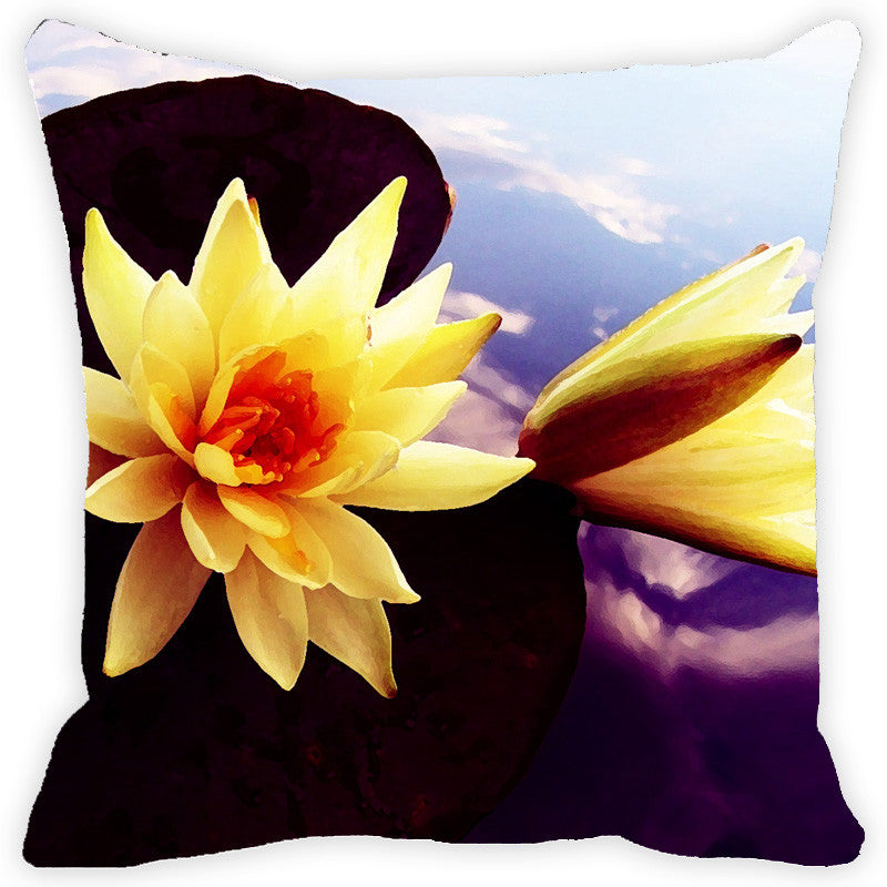 Leaf Designs Yellow Lotus Cushion Cover