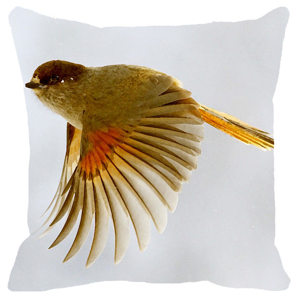 Leaf Designs Yellow Flying Bird Cushion Cover