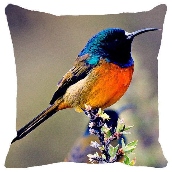 Leaf Designs Blue & Orange Bird Cushion Cover