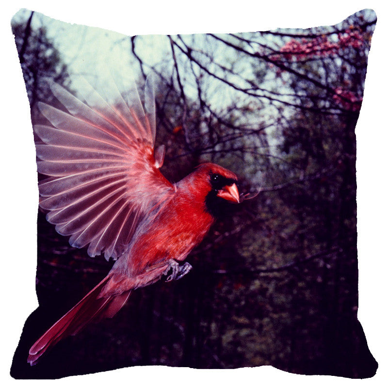Leaf Designs Coral Flying Bird Cushion Cover