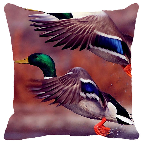 Leaf Designs Blue Green Flying Bird Cushion Cover