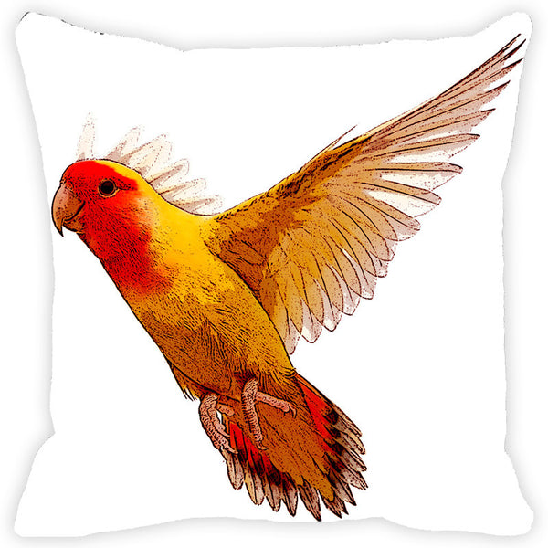 Leaf Designs Yellow & Orange Painted Bird Cushion Cover