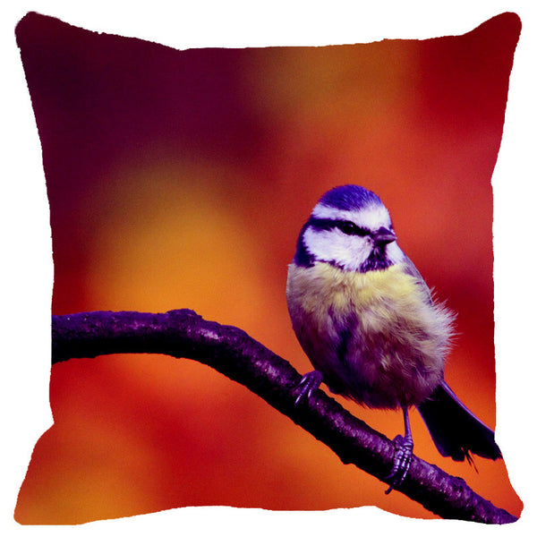 Leaf Designs Purple Bird Cushion Cover