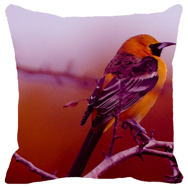 Leaf Designs Yellow & Purple Bird Cushion Cover