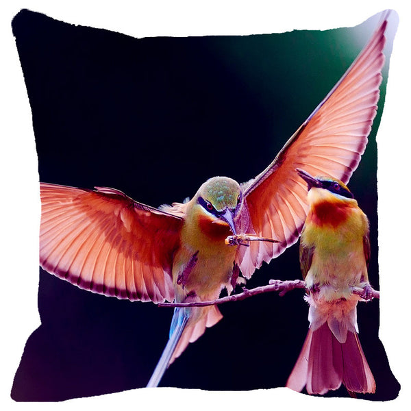 Leaf Designs Shaded Flying Bird Cushion Cover