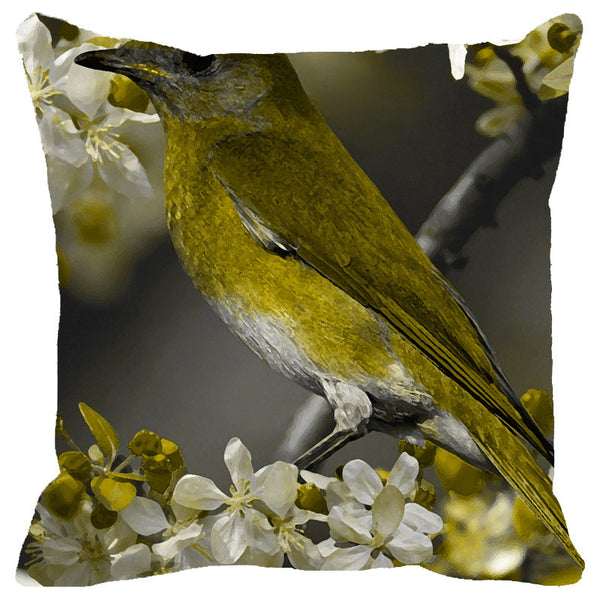 Leaf Designs Green Bird Cushion Cover