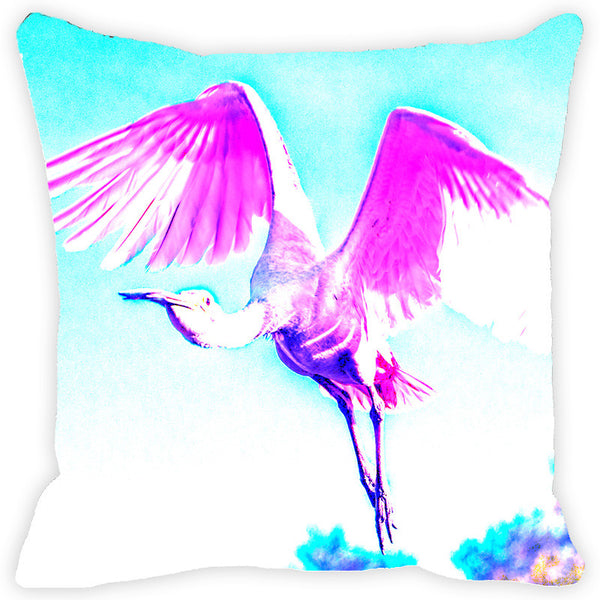 Leaf Designs Pink & Blue Flying Bird Cushion Cover