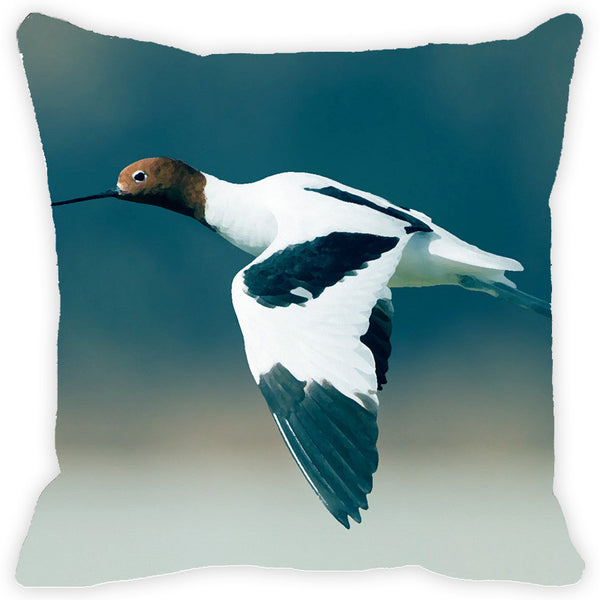 Leaf Designs White & Blue Flying Bird Cushion Cover