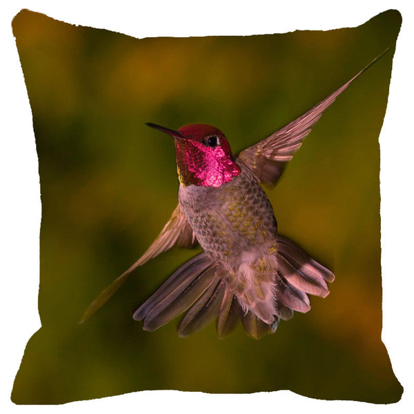 Leaf Designs Pink Flying Bird Cushion Cover