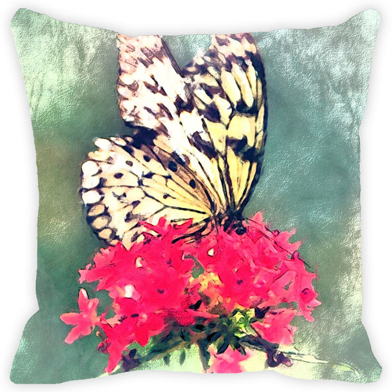 Leaf Designs Yellow & Black Butterfly Cushion Cover
