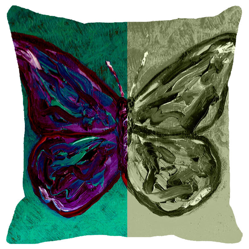 Leaf Designs Butterfly Reflection Cushion Cover
