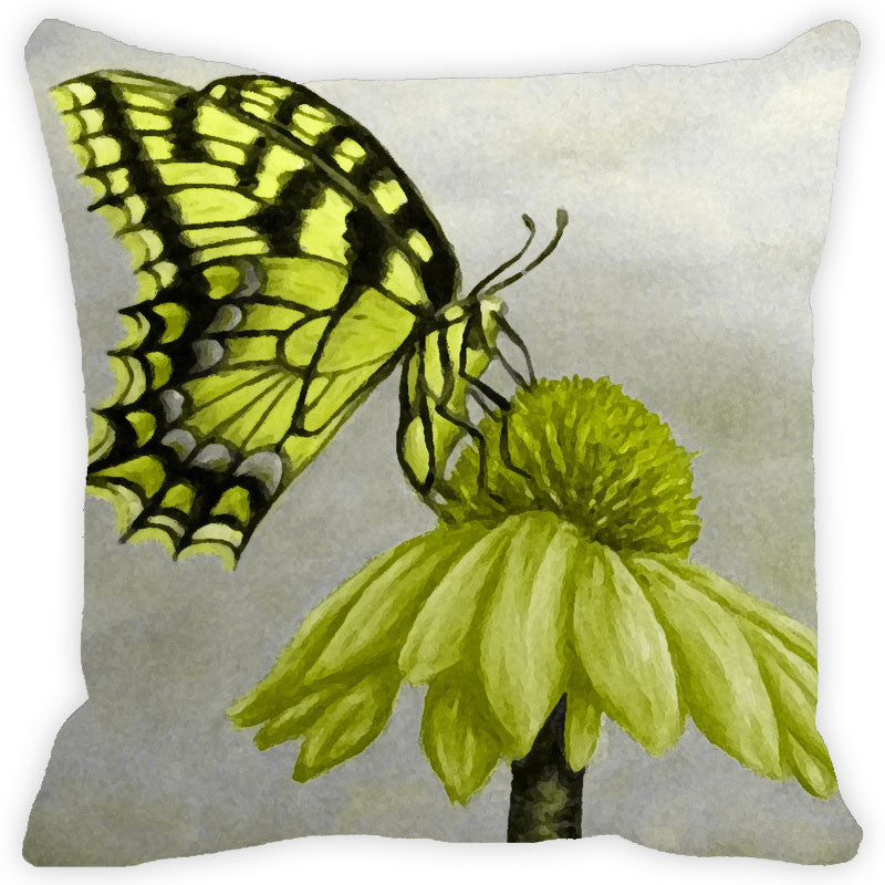 Leaf Designs Green & Grey Butterfly Cushion Cover (A)