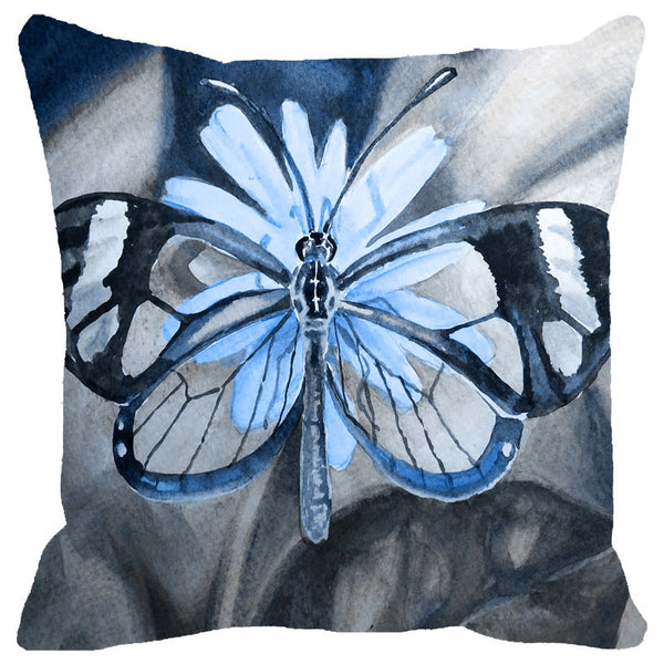 Leaf Designs Blue & Grey Butterfly Cushion Cover