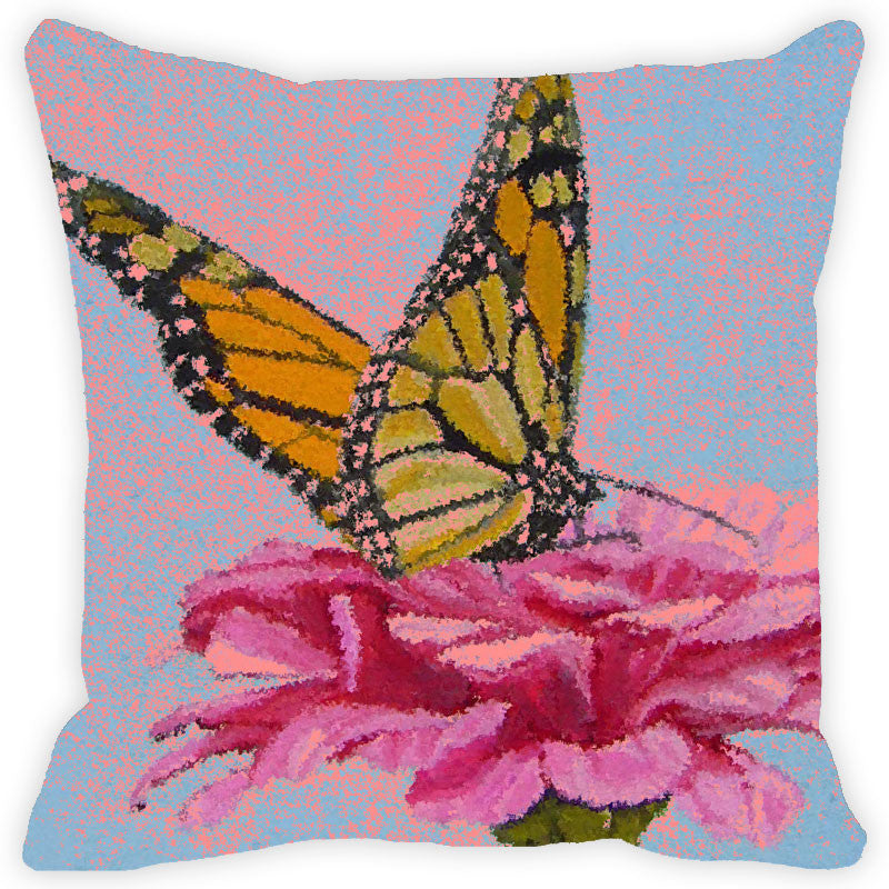 Leaf Designs Golden Yellow & Pink Winged Butterfly Cushion Cover