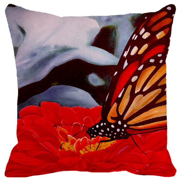 Leaf Designs Red & Grey Butterfly Cushion Cover