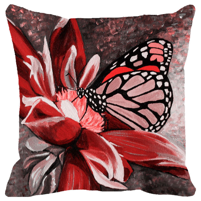 Leaf Designs Red & Black Butterfly Cushion Cover