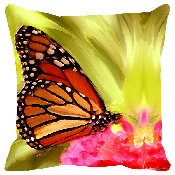 Leaf Designs Golden Yellow & Orange Butterfly Cushion Cover