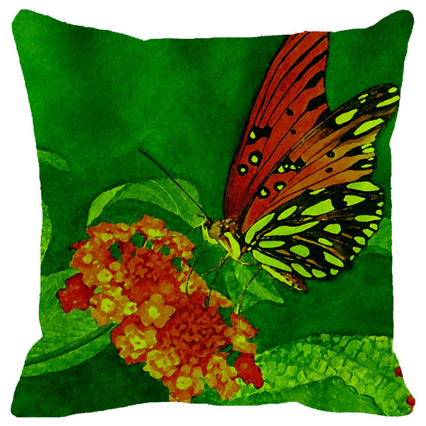 Leaf Designs Bright Green Butterfly Cushion Cover