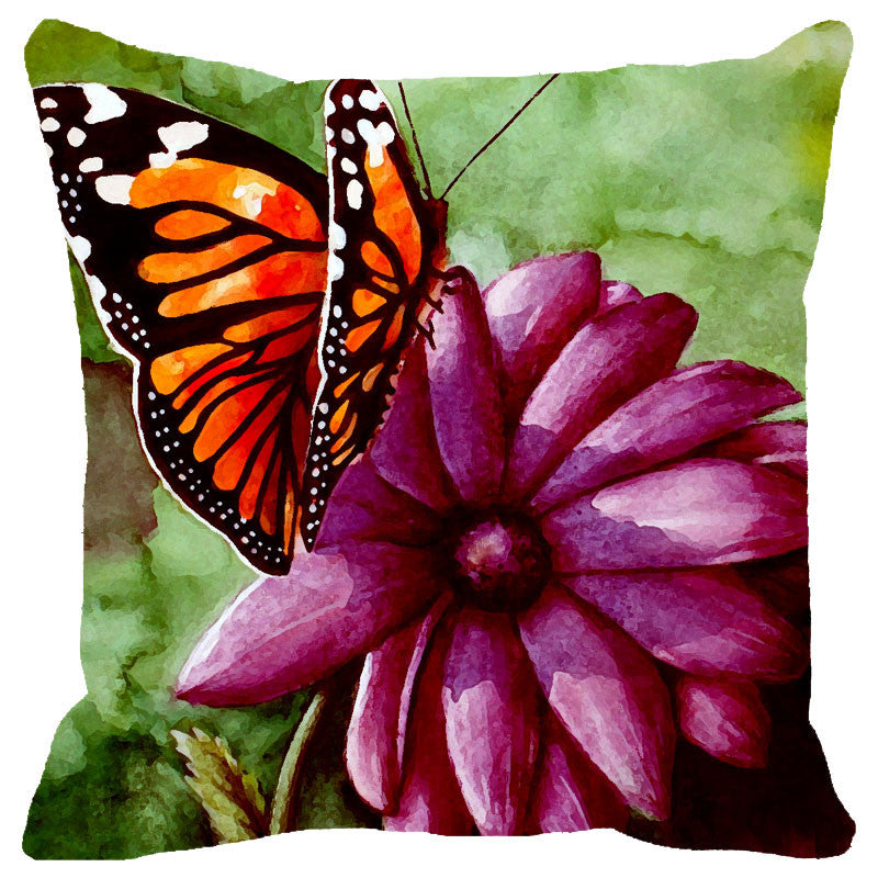 Leaf Designs Pink & Orange Butterfly Cushion Cover