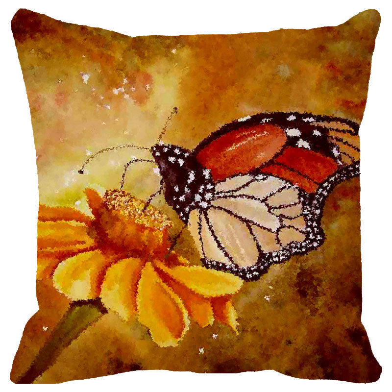 Leaf Designs Gold & Orange Butterfly Cushion Cover