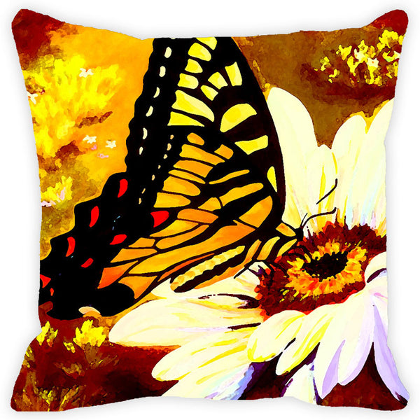 Leaf Designs Brick Red & Black Butterfly Cushion Cover