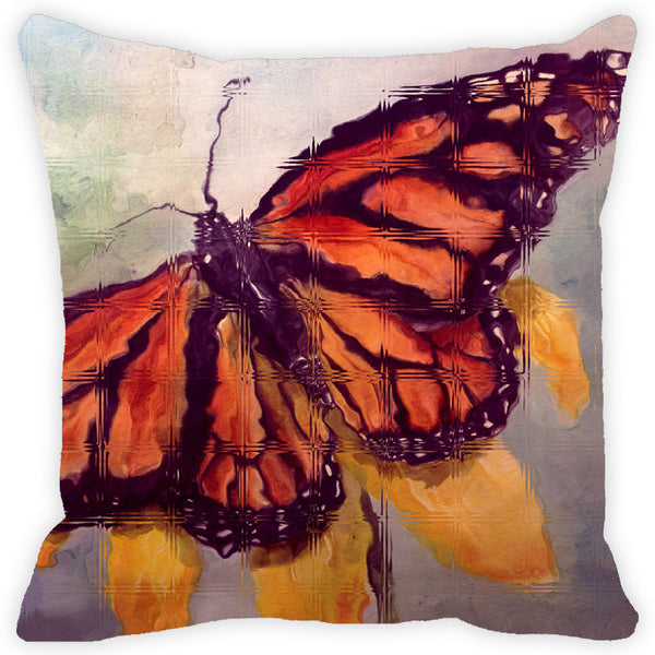 Leaf Designs Grey & Orange Butterfly Cushion Cover