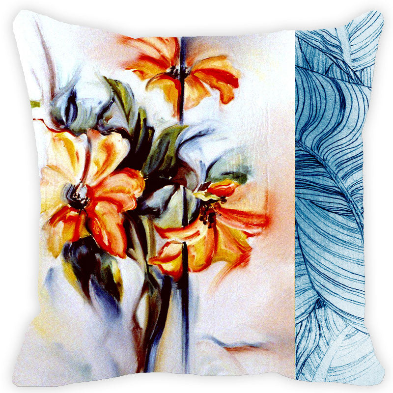 Leaf Designs Blue & Orange Floral Cushion Cover
