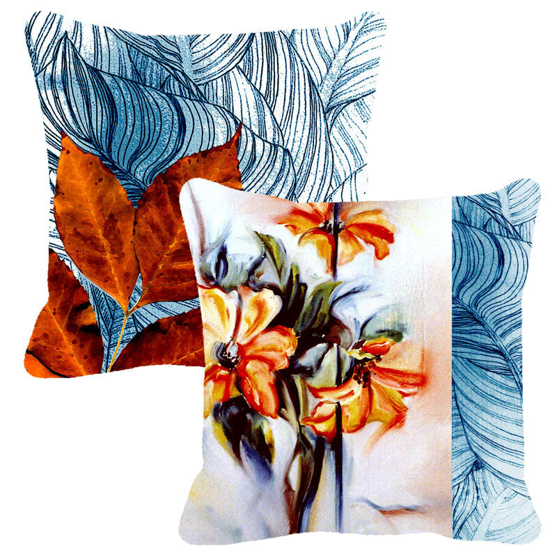 Leaf Designs Blue & Orange Floral - Set of 2 Cushion Covers