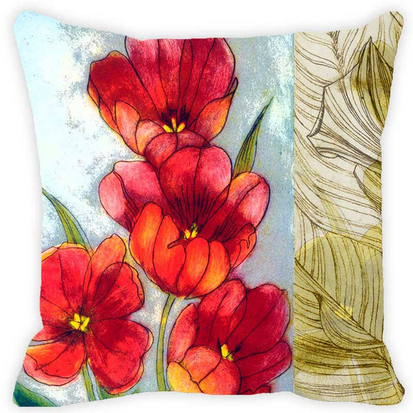 Leaf Designs Red & Golden Yellow Floral - Set of 2 Cushion Covers