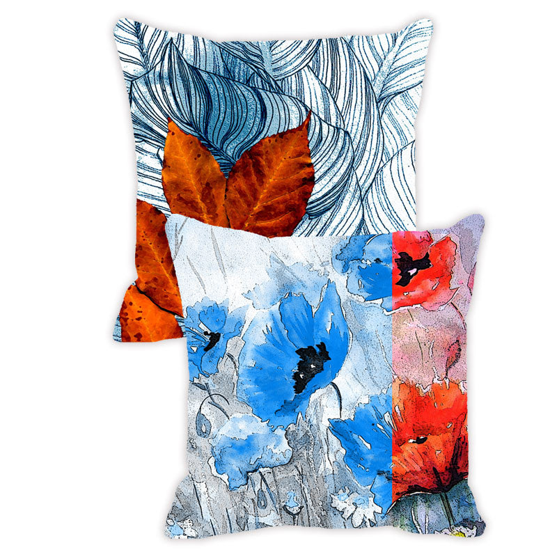 Leaf Designs Blue Tones Floral - Set of 2 Cushion Covers