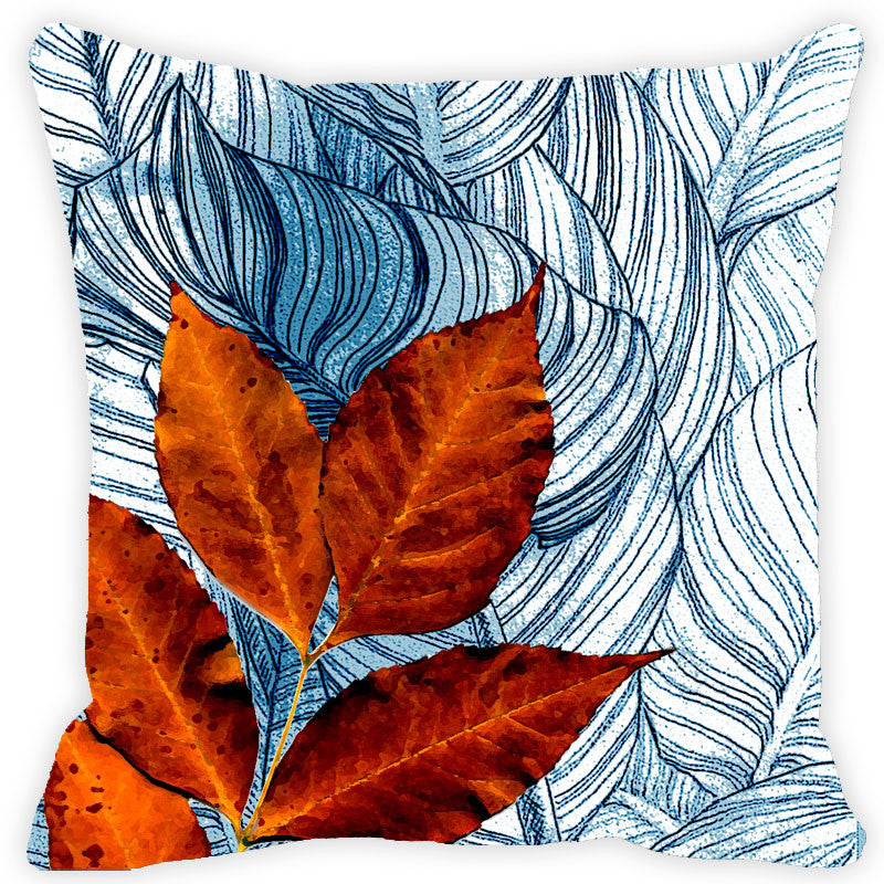 Leaf Designs Green & Orange Floral - Set of 2 Cushion Covers