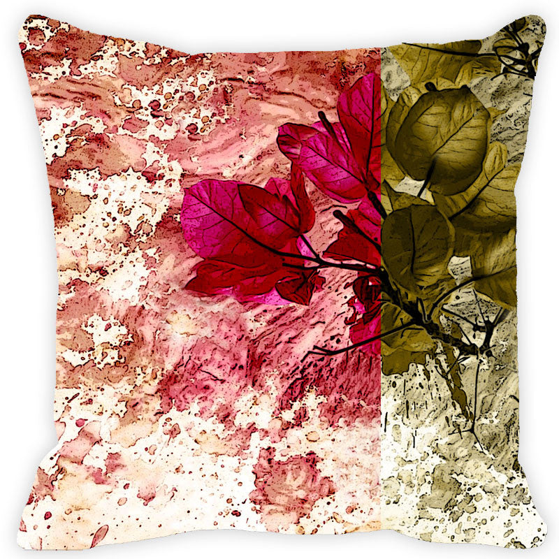 Leaf Designs Green & Pink Floral Cushion Cover