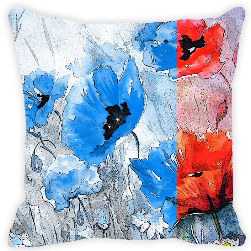 Leaf Designs Black & Red Floral Cushion Cover