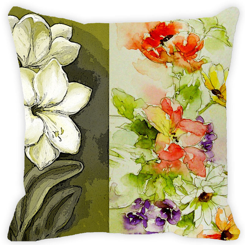 Leaf Designs Green Tones Floral Cushion Cover