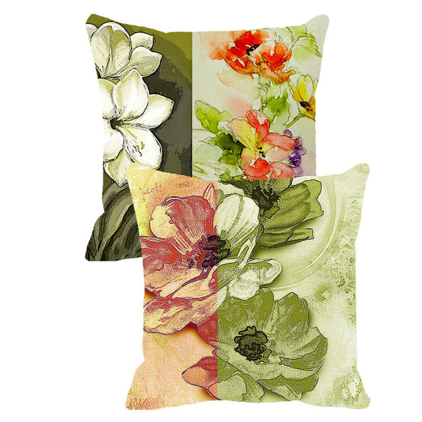 Leaf Designs Green & Brick Red Floral - Set of 2 Cushion Covers