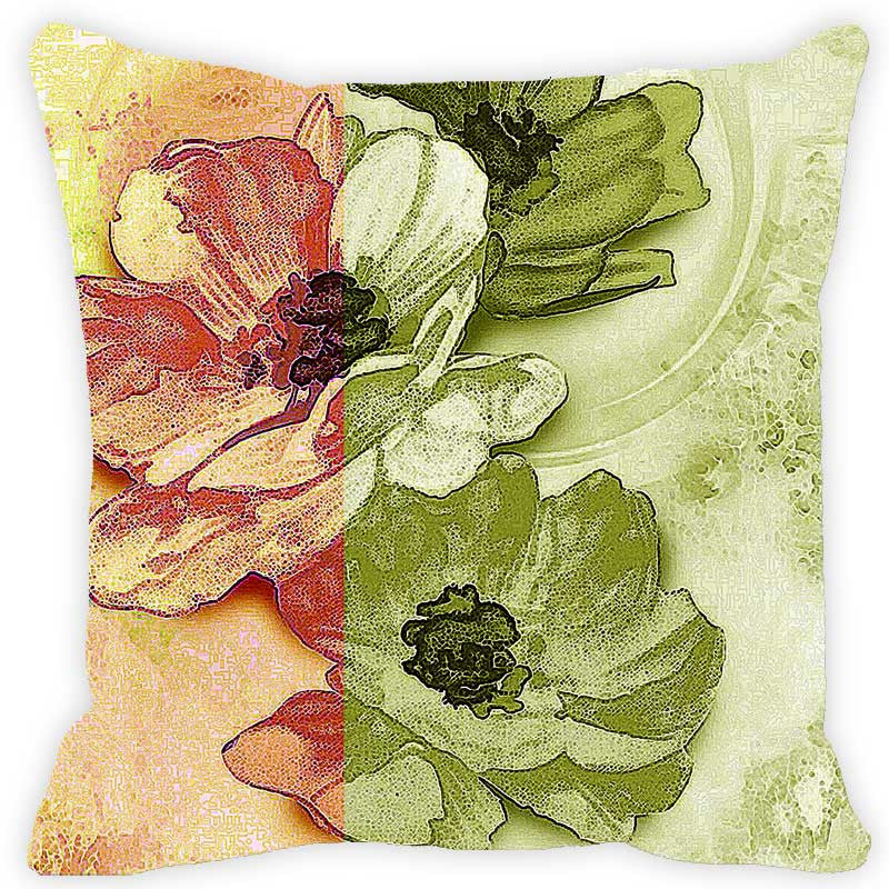 Leaf Designs Green & Brick Red Floral Cushion Cover