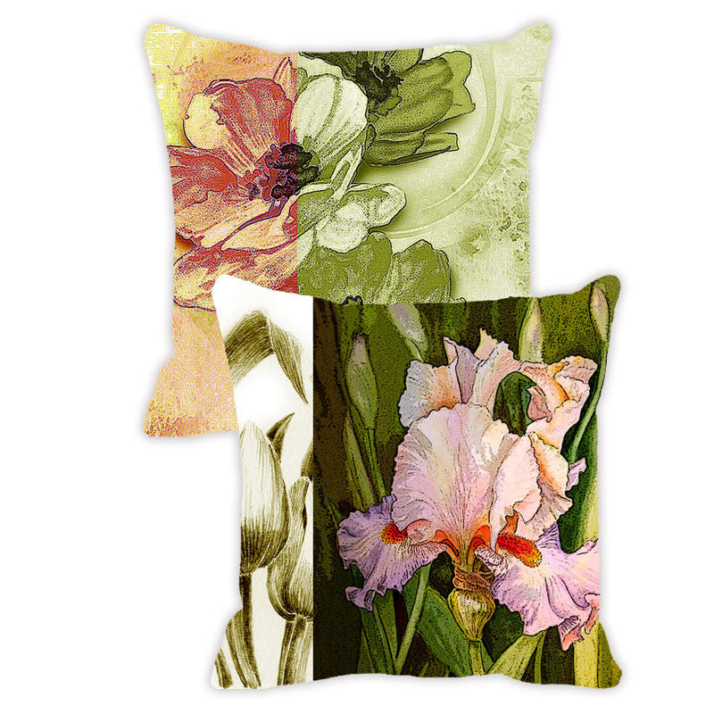Leaf Designs Green & Lilac Floral - Set of 2 Cushion Covers
