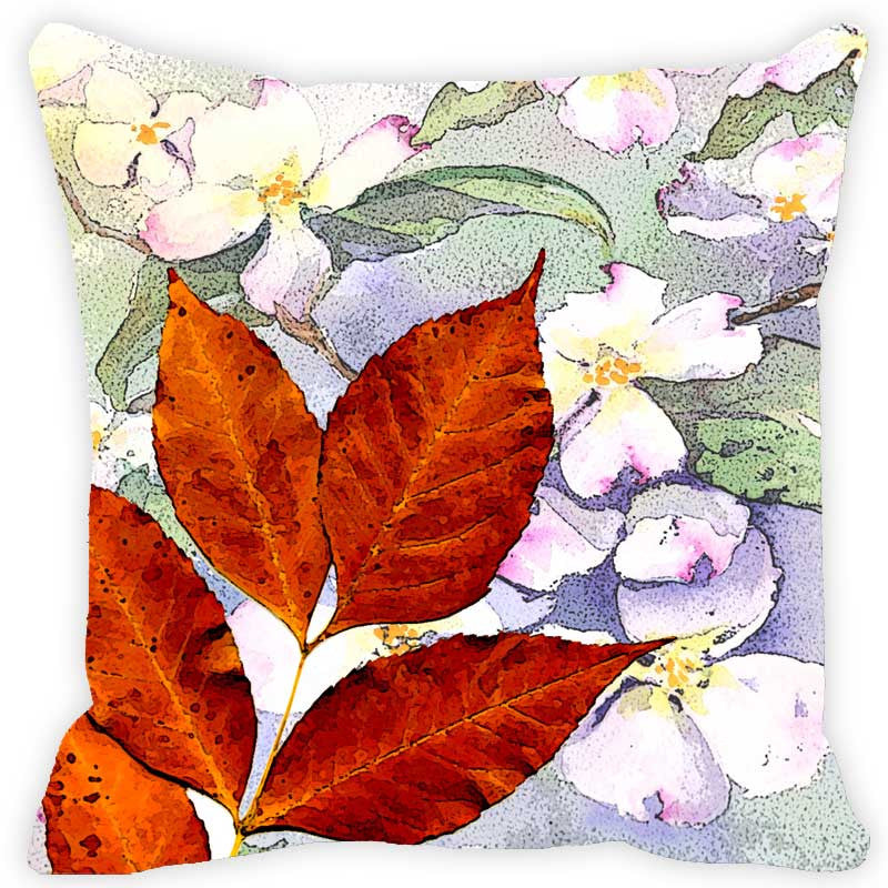 Leaf Designs Lilac & Orange Floral Cushion Cover