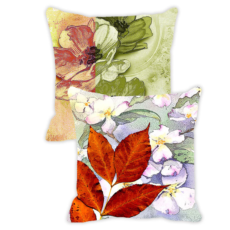 Leaf Designs Purple & Orange Floral - Set of 2 Cushion Covers