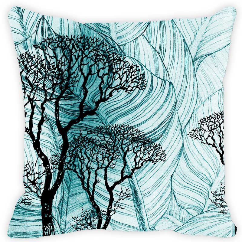 Leaf Designs Blue & Black Floral Cushion Cover