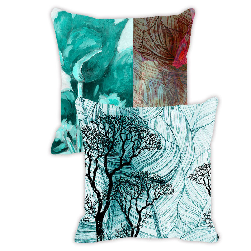 Leaf Design Aqua Tones Floral - Set of 2 Cushion Covers