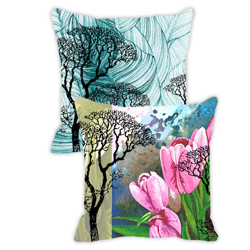 Leaf Designs Blue & Pink Floral (A) - Set of 2 Cushion Covers