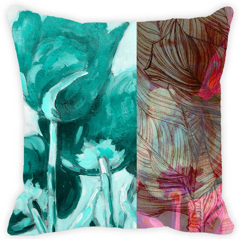 Leaf Designs Pink & Aquamarine Floral Cushion Cover