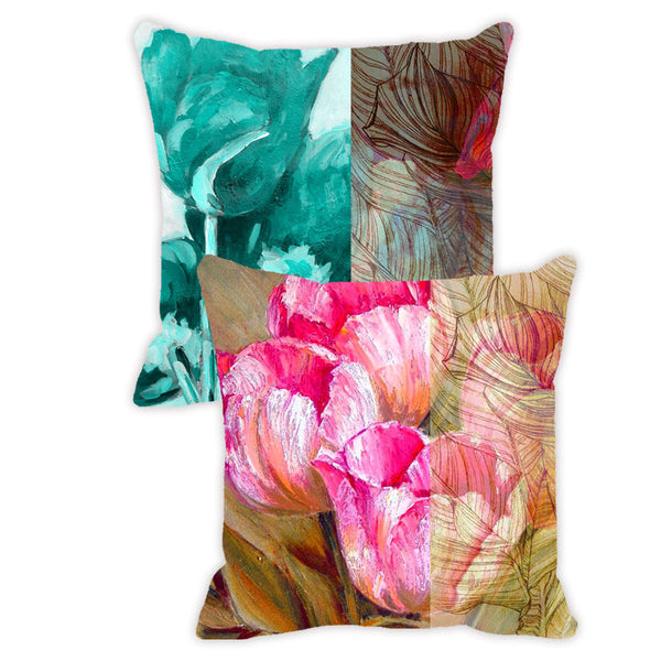 Leaf Designs Pink & Aquamarine Floral - Set of 2 Cushion Covers
