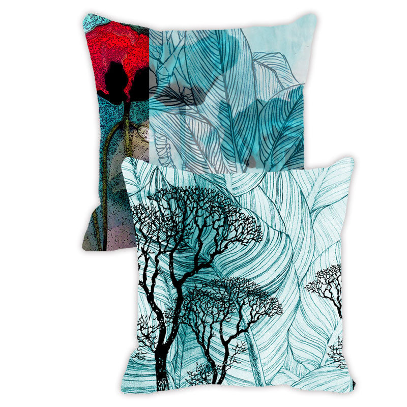 Leaf Designs Red & Aquamarine Floral - Set of 2 Cushion Covers