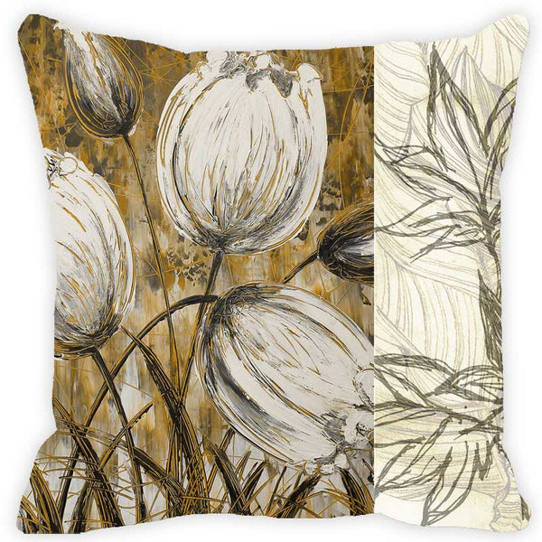 Leaf Designs Khaki & Ivory Floral Cushion Cover