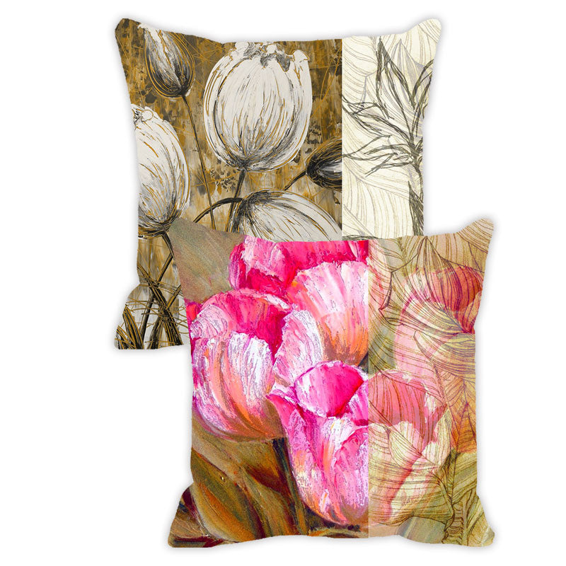 Leaf Designs Bright Pink & Khaki Floral - Set of 2 Cushion Covers