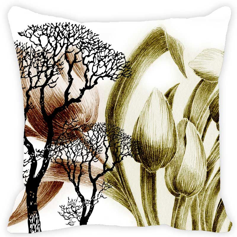 Leaf Designs Khaki & Ivory Floral - Set of 2 Cushion Covers