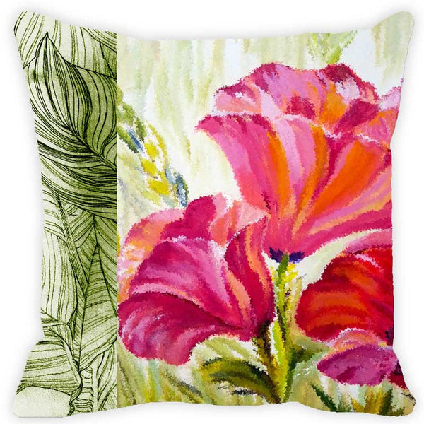 Leaf Designs Hot Pink & Green Floral Cushion Cover